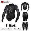 Herobiker 2017 nueva chaqueta motorcross racing motorcycle body armor protective engranajes + short pants + protector rodillera moto