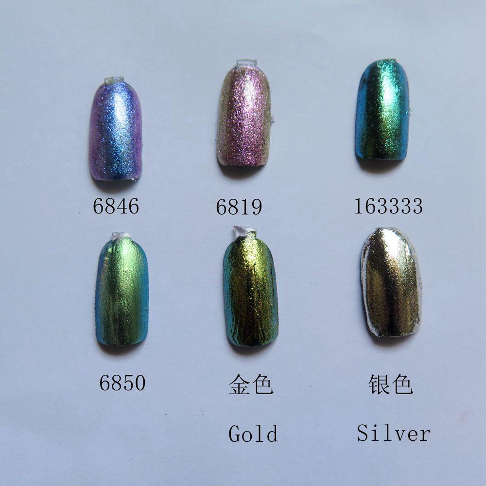 1g/jar Free Shipping Mirror Powder Chrome Pigment Nail Glitters Magic Powder 6 colors