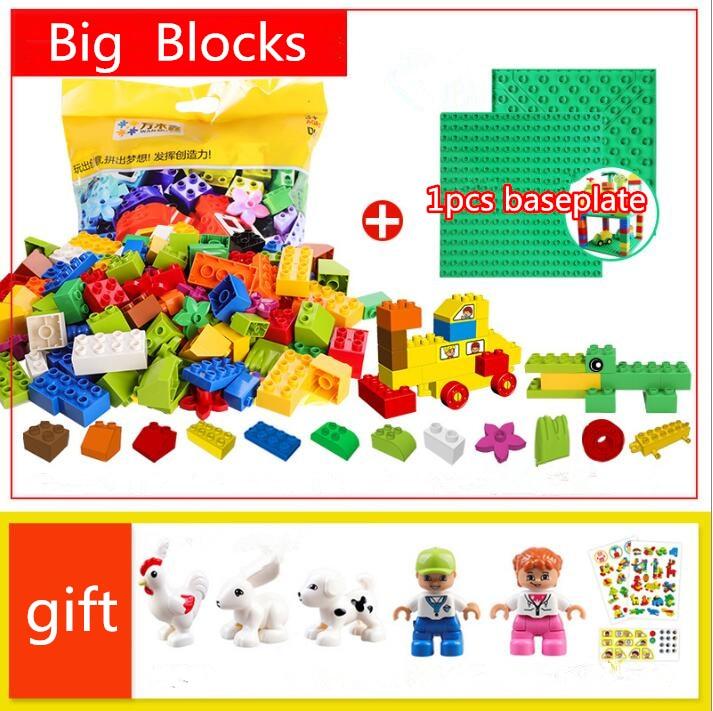 все цены на Big Size DIY City Building Blocks/Figures/baseplate/piline Bricks Educational Toys Compatible with Legoed Duploed Blocks онлайн