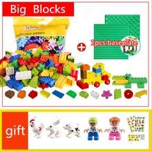 Big Size DIY City Building Blocks/Figures/baseplate/piline Bricks Educational Toys Compatible with Legoed Duploed Blocks