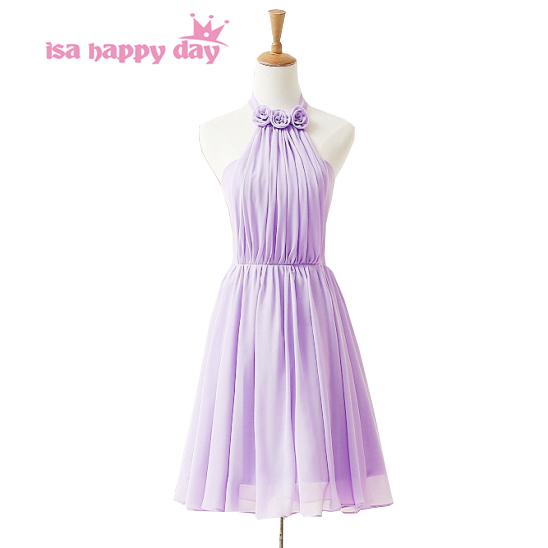 country style robe soiree cheap light purple halter braidsmaid   dresses   for   bridesmaids     dress   short made in china style H3845