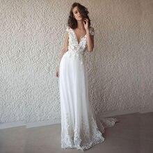 Романтическое пляжное свадебное платье трапеция в стиле бохо