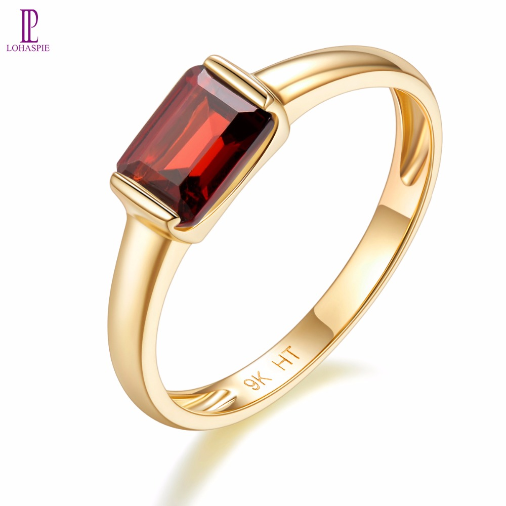 Natural Gemstone Garnet Engagement Ring Solid 9K Yellow Gold Fine Fashion Stone Jewelry For Women's Gift New Arrival Lohaspie lohaspie ocean party natural sapphire pendant solid 9k yellow gold mother of pearl starfish fine fashion stone pearl jewelry new