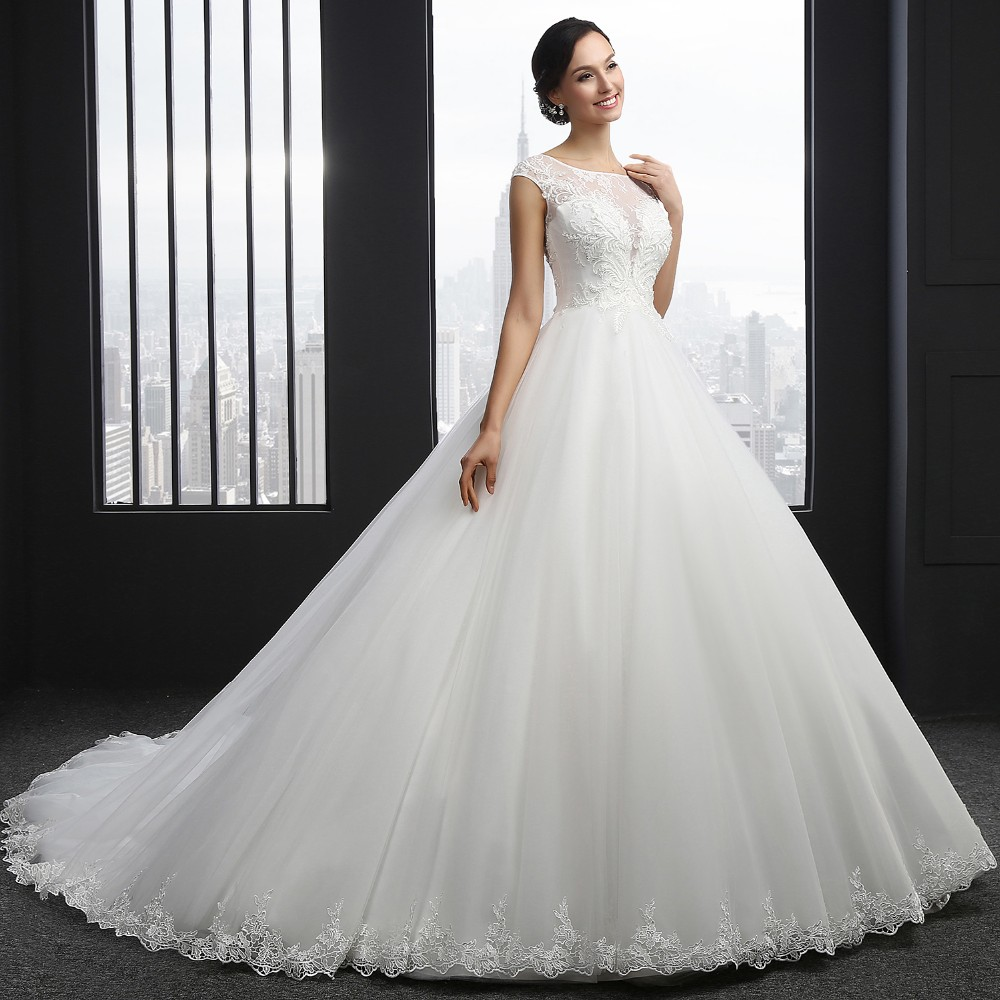 MZ-0031 New Arrival Princess Wedding Dress Custom Made Sequins Cap Sleeve Bride Dresses Tulle Wedding Dresses 4