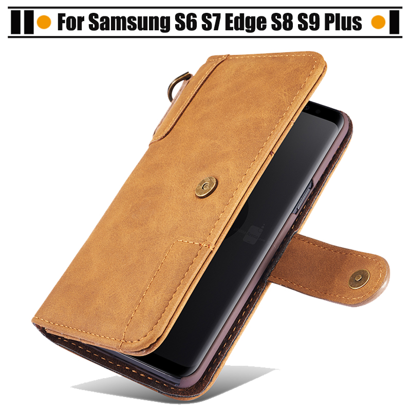 JURCHEN Phone Cases For Samsung S6 S7 Edge Retro Wallet Luxury Leather Flip Case Cover For Samsung Galaxy S9 S8 Plus Case Fundas