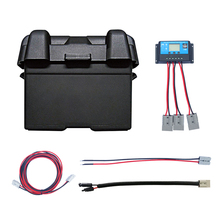 Battery Box Carrier With USB Charger LED Meter Breaker & 12V Socket + 10A Controller +Battery connector