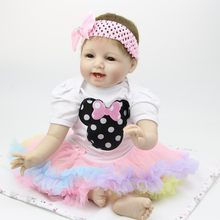 Fashion 22 inch Realistic Smiling Soft Silicone Reborn Baby Dolls 55 cm Baby Girl Toy Newborn Doll For Children's Days Gifts(China)