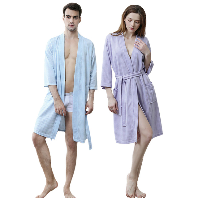 Men Plus Size Knee-Length Suck Sweat Towel Bath Robe Mens Kimono Waffle Bathrobe  Male Women Sexy Yukata Dressing Gown Nightwear 0e1a43335