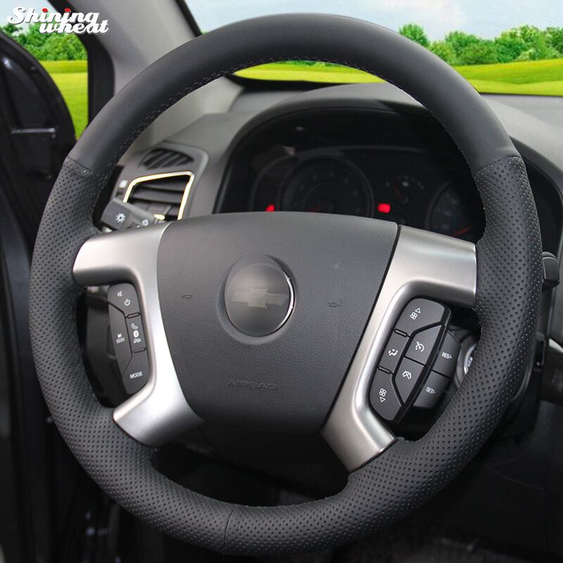 Shining wheat Black Leather Car Steering Wheel Cover for Chevrolet Captiva 2007-2014 Silverado GMC Sierra 2007-2013 Daewoo Winst shining wheat black genuine leather car steering wheel cover for fiat bravo 2007 2011