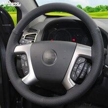 Shining wheat Black Leather Car Steering Wheel Cover for Chevrolet Captiva 2007-2014 Silverado GMC Sierra 2007-2013 Daewoo Winst