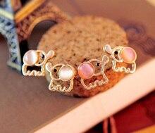 Fashion Lovely Cutepink beige Baby Elephant Opal stud earrings women Statement earrings for party jewelry