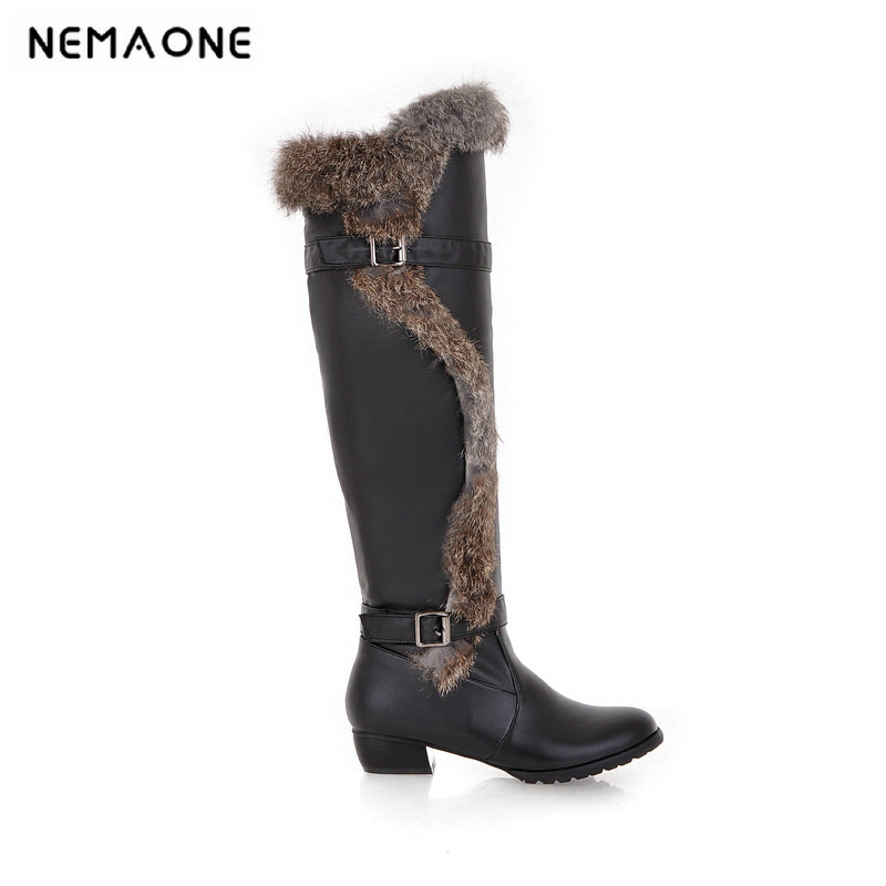 2019 elegant knee high snow boots med heel women shoes winter party shoes large size 33 43 it`s black white and beige