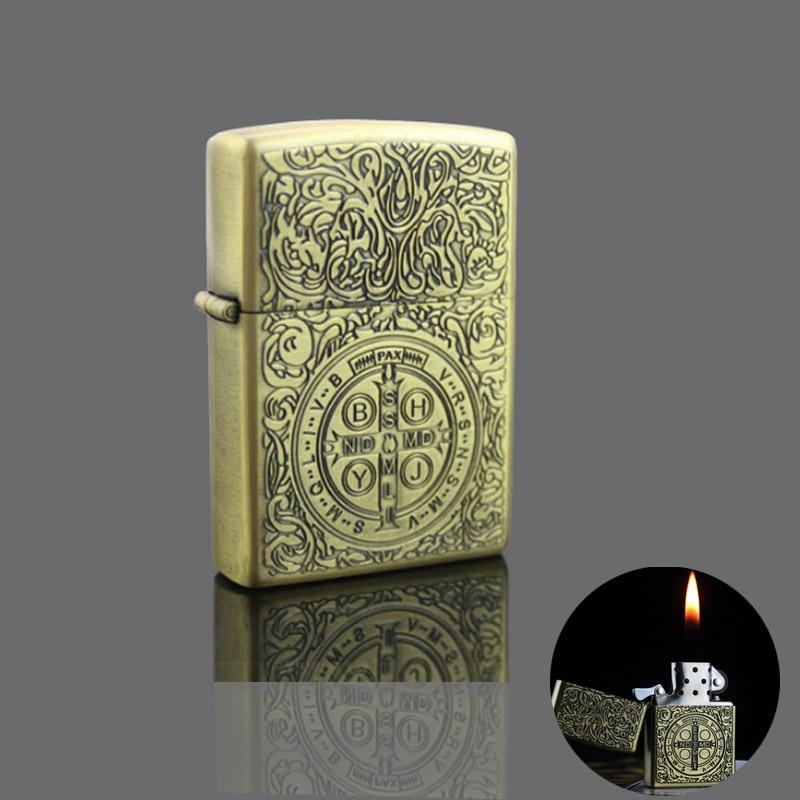 Creative Retro Metal Kerosene Lighter Smoker Hell Detective Armor Cigarette Lighter Carving Unique Constantine Lighter
