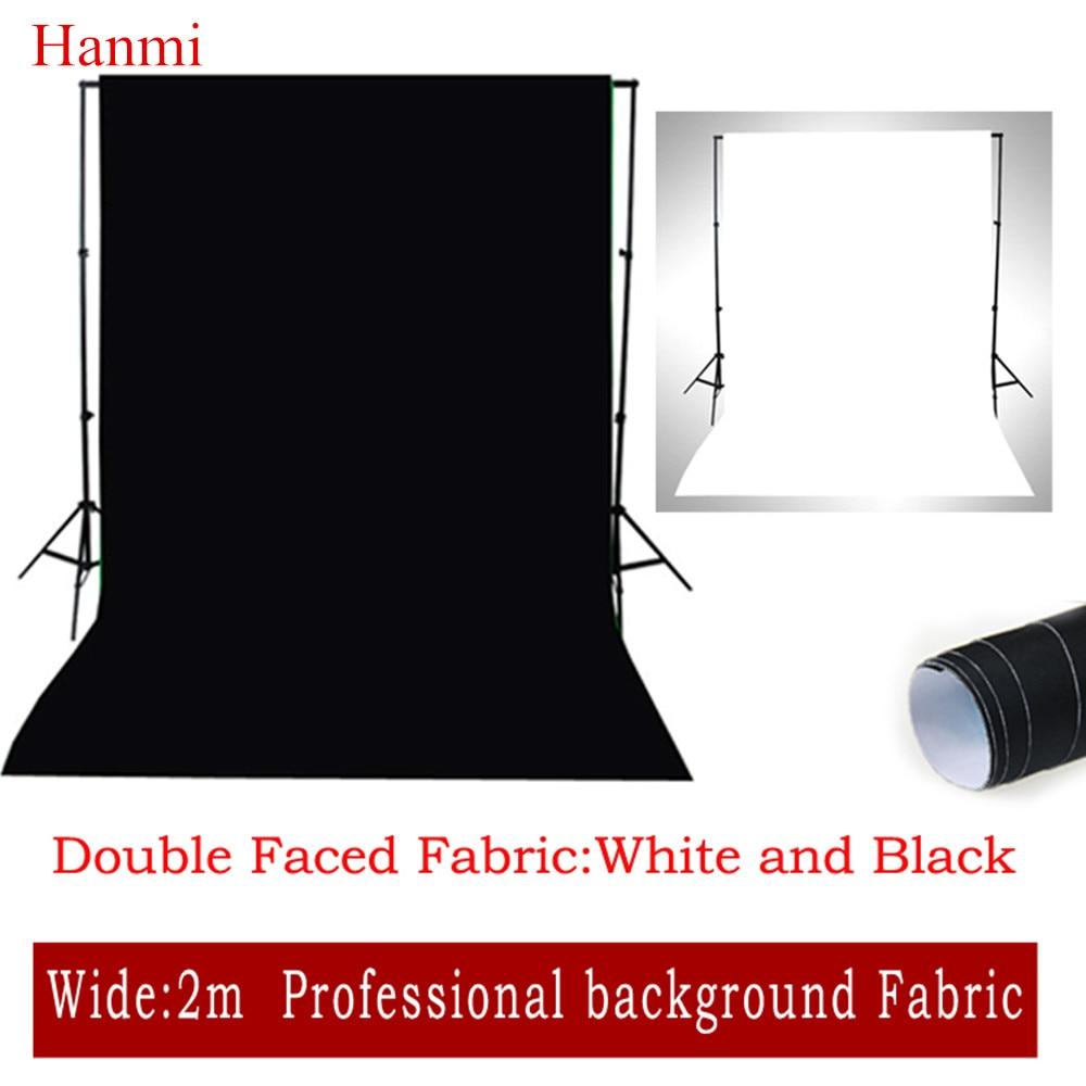 Hanmi Double Face Tissu Blanc, Noir Largeur 2 M * 3 M Photo Éclairage Studio Coton Chromakey Muslin Écran fond Tissu Toile De Fond