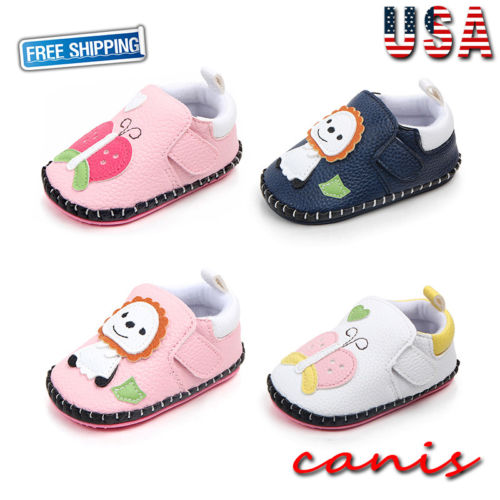 AU 0-18 Months Infant Newborn Baby Boy Girl Pre-Walker White Soft Sole Pram Shoes Trainers Sandals Non-slip PU Leather Shoes