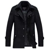 Winter Wool Coat Men Thick Warm Slim Fit Jackets Outerwear Casual Jacket Mens Pea Coat Plus