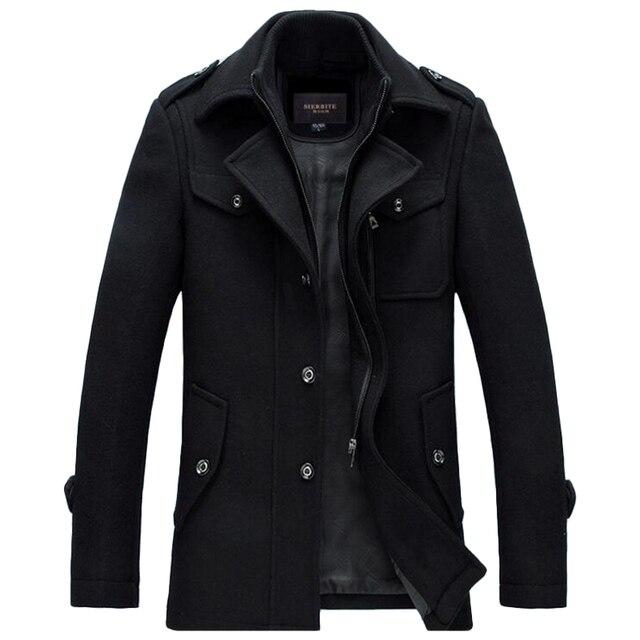 Зимнее шерстяное пальто Для мужчин толстые теплые Slim Fit Куртки Верхняя одежда Повседневная куртка Для мужчин s бушлат плюс Размеры XXXL Пальто брендовая одежда