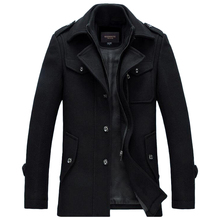 Winter Wool Coat Men Thick Warm Slim Fit Jackets Outerwear Casual Jacket Mens Pea Coat Plus Size XXXL Overcoat Brand Clothing()