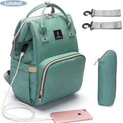 2018 USB Интерфейс Мумия сумка рюкзак большой Ёмкость водонепроницаемый мешок детские пеленки для беременных нести Bolsa Luiertas сумка для ухода за ...