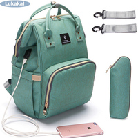 2018 USB Interface Mummy Bag Backpack Large Capacity WaterProof Baby Diaper Bag Maternity Carry Bolsa Luiertas
