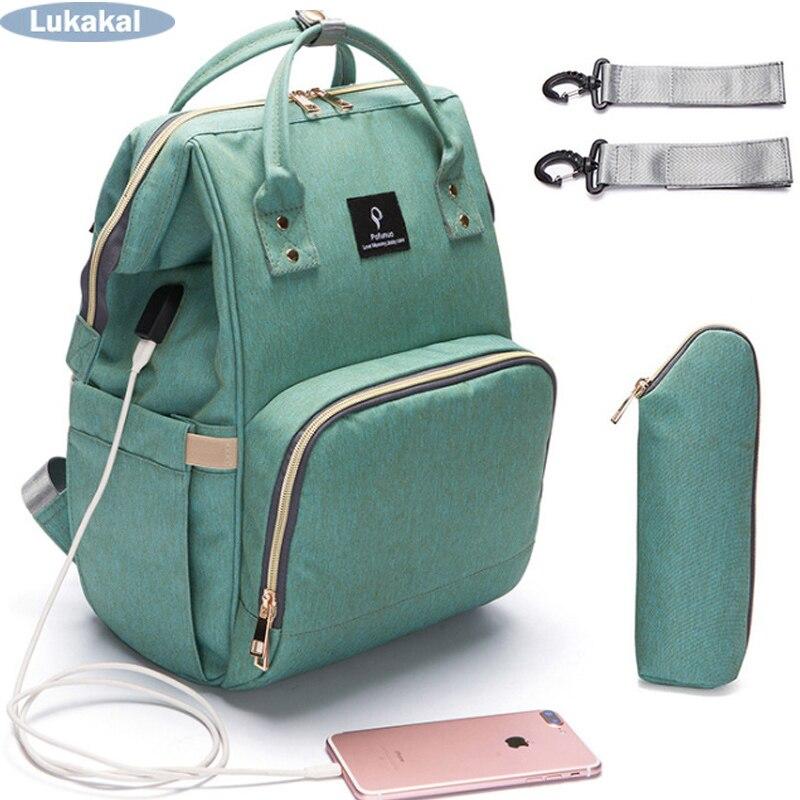 2018 interfaz USB momia mochila de gran capacidad impermeable maternidad del bolso del pañal del bebé llevar Bolsa Luiertas Bolsa para el cuidado del bebé
