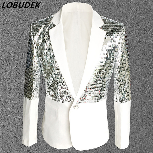 Nightclub Bar Male singer Rock DJ costumes White sequins Tide Men's Suit Jackets Prom Party Host stage show Outfit coat costumes