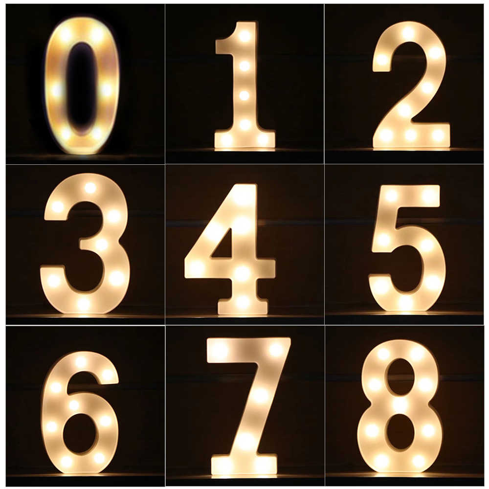 0-9 Number LED Digit Night Light Lamp For DIY Birthday Party Decoration Kids Adult Wedding Glow Decor Desk Table Lamp Luminaria