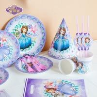 Princess Sofia Theme 65pcs Girl Birthday Party Paper Cup Plate Straw Napkin Horn Wedding Sofia Gift Bag Invitation Card Supply
