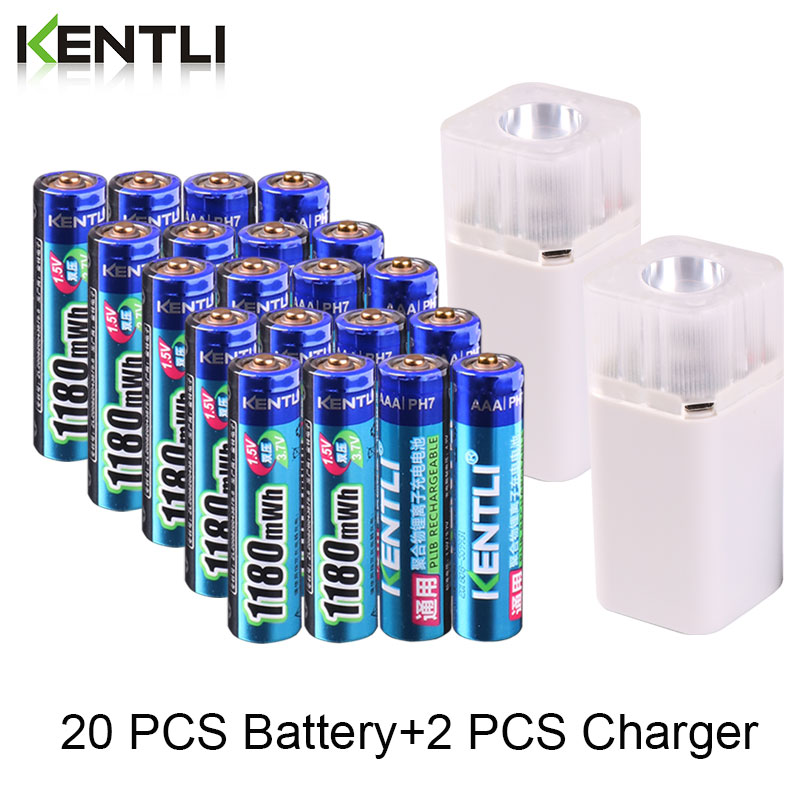 KENTLI 1.5v 1180mWh AAA rechargeable lithium <font><b>battery</b></font> + 4 slots <font><b>aa</b></font> aaa lithium <font><b>battery</b></font> <font><b>charger</b></font> with flashlight for thermometer image