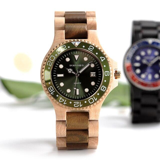 0cd4f78f63d BOBOBIRD Mens Vestido Clássico Relógio Rosto de Aço Caso Relógios com Banda  De Madeira na Caixa