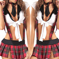 Explosion models sexy red plaid school uniforms temptation role-playing game women lattice Binding   lingerie sexy  picardias