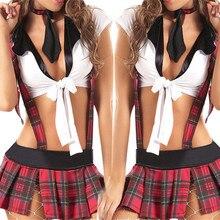 Modelos de explosão sexy uniformes tentação role-playing game da escola da manta vermelha mulheres treliça picardias Vinculativo lingerie sexy
