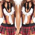 Modelos de explosión sexy tentación del juego de rol uniformes escolares a cuadros rojos mujeres enrejado Vinculante lencería sexy picardias