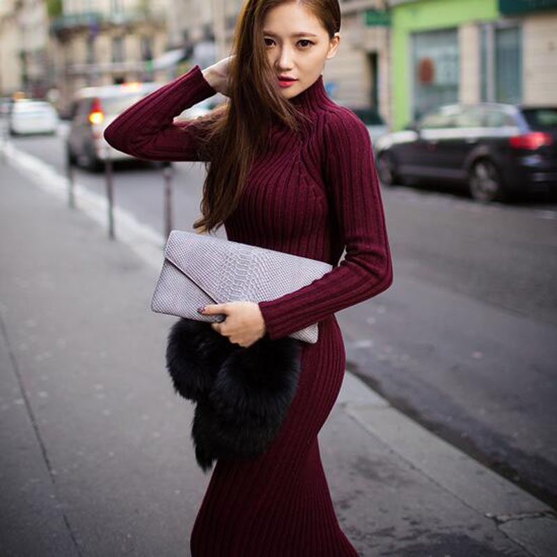 Knit Sweater Dress 2017 Autumn Winter Women Long-sleeved High-necked Slim Sexy Flexible Bandage Knitted Long Dresses JQ1193 5