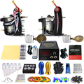 Solong Tattoo Pro Tattoo Kit 2 Rorary Tattoo Machine Gun Power Supply 1 Practice Skin Dual-sided Re-usable One Set TK202-10