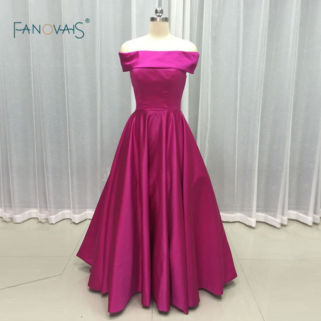 26a071775f11 New design 2017 Elegant Fushia Satin Boat Neck off Shoulder Lace up Prom  Dress A Line Custom Party Wear Gowns PB08