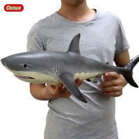 Oenux 55x24x17cm Big Sea Life Soft Great White Shark Model Action Figures Ocean Animals Big Shark Collection Toy For Kid Gift