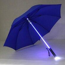 2019 nuevo paraguas con linterna LED colorido para la protección nocturna Parque de Atracciones paraguas de destello de luz LED transparente herramientas al aire libre