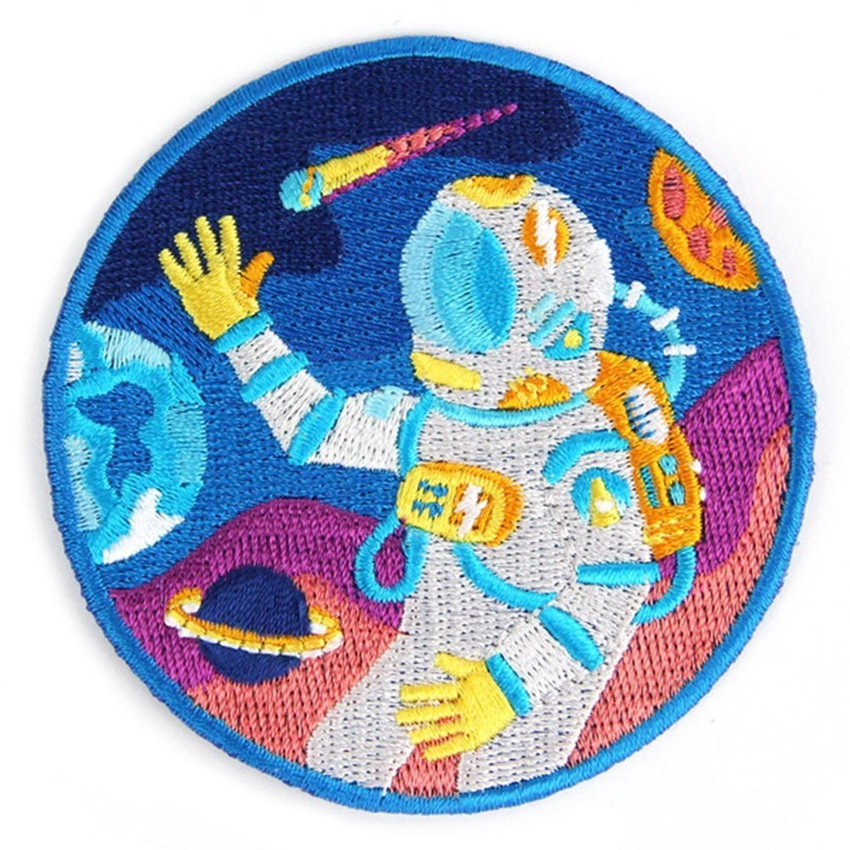 Outer Space Embroidered Sew or Iron-on Backing Patches Astronaut Space Explorer Embroidered Patches