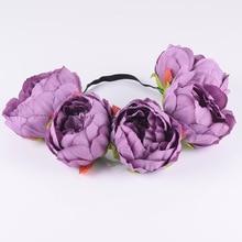 CXADDITIONS Fabric Big Peony Elasticity Wildflower Headband Hair Accessories Headwrap Flower Crown Floral Rustic Wedding
