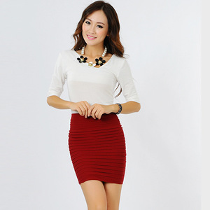 Image 4 - Summer new half Fashion skirt candy color Elastic concise Bodycon Solid Color Pleated short skirt for Party Gift D3063