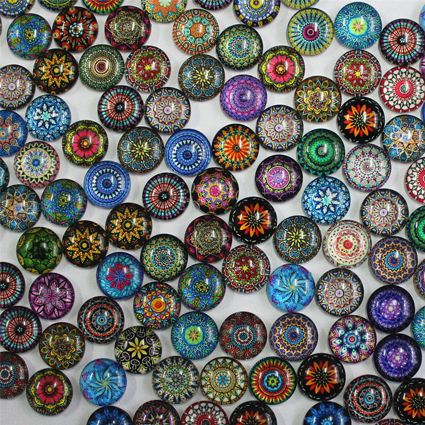 12mm Random Mixed Style Paired Round Retro Flower Glass Cabochon Flatback Photo Dome Jewelry DIY Accessories 50pcs/lot K06042