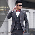 2015 New Arrival Fashion Men Suit Slim Terno Masculino Plaid Wedding Suits For Men Custume Homme 3pcs Mens Suits Witn Pants
