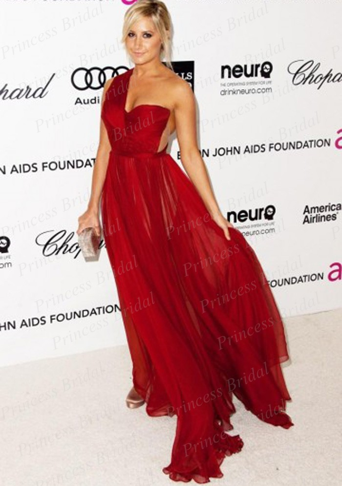 Free Shipping Sheath Floor Length Ashley Tisdale Red One shoulder ...