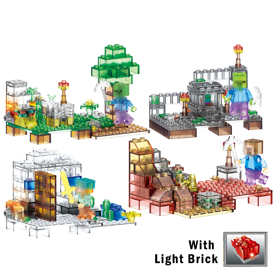 375pcs 4in1 Crystal minecrafted model with Light bricks Building Blocks Compatible Legoed city toys for children friends 8 in 1 military ship building blocks toys for boys