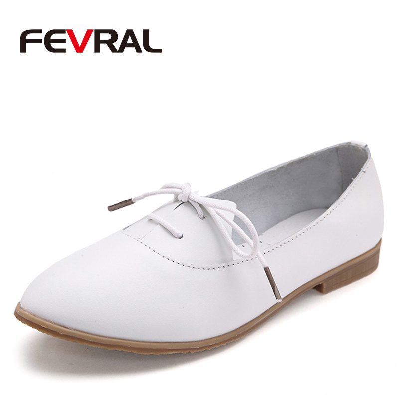 FEVRAL New Genuine Leather Solid Woman Flats Oxford Shoes 2018 Fashion Woman Shoes Casual Breathable Moccasins Loafers Shoes lovexss casual oxford shoes fashion metal decoration shallow shoes black purple genuine leather flats woman casual oxford shoes