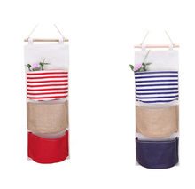 2019 New Arrivals Colored Wall-Mounted Fabric Storage Bag Hanging Organizer With 3 Pockets-Type A Best Selling Dropshipping(China)