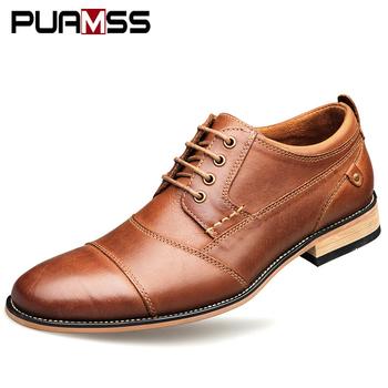 Marka mężczyźni buty Top Quality oksfordzie brytyjski styl mężczyźni oryginalna skórzana sukienka buty formalne buty biznesowe płaskie buty męskie Plus rozmiar 50 tanie i dobre opinie Dla dorosłych Przypadkowi buty Prawdziwej skóry RUBBER Patchwork Oddychająca Wysokość zwiększenie Masaż Wodoodporna