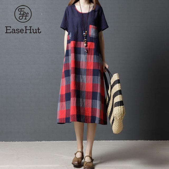 42482b59b8e EaseHut Vintage Women Cotton Linen Midi Dress Plaid Checked Printed Short  Sleeve Round Neck Pockets Casual Loose Summer Vestidos