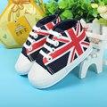 2016 primavera antiderrapante primeros zapatos del caminante de Union Jack zapatos de bautizo de ninas alta calidad suave bottomscarpe